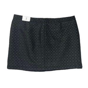 Gap 18 Plus Black Gold Metalic Holiday Mini Skirt